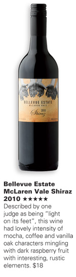 Bellevue Estate McLaren Vale Shiraz 2010 Five Stars